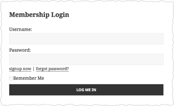 Example Login Form Generated by s2Member-Login Shortcode