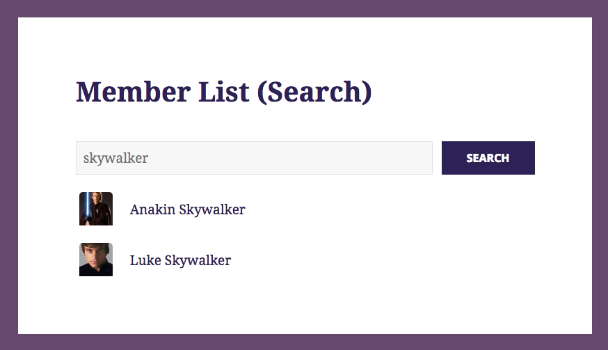 Member List (Search Results)