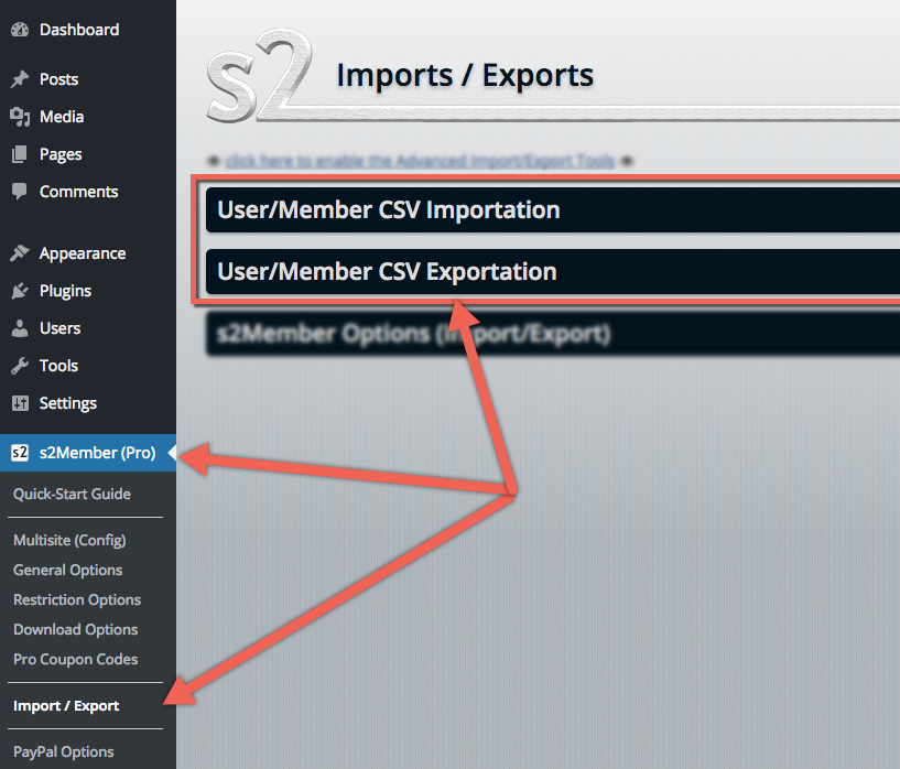 s2Member User/Member Import/Export