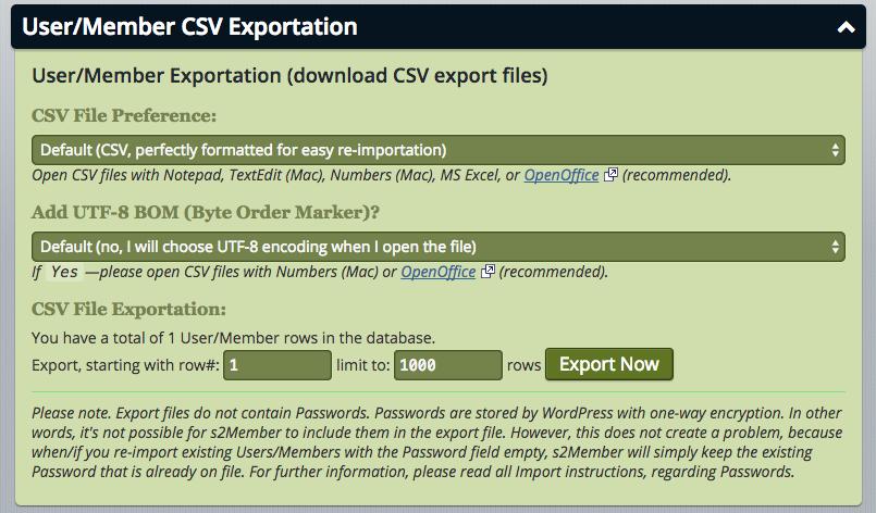 User/Member CSV Exportation