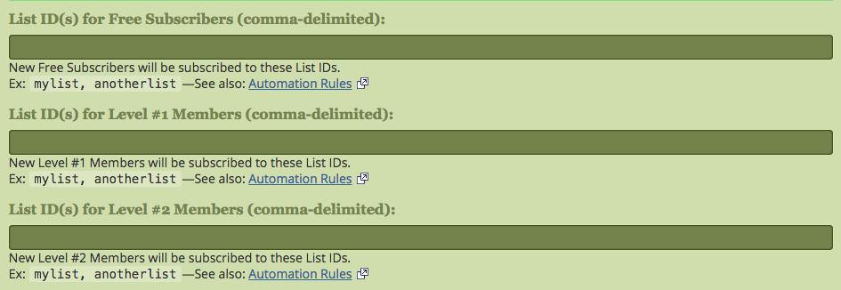 s2Member AWeber List IDs