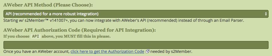 s2Member AWeber API Key