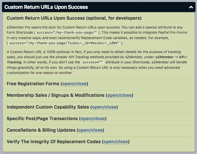 s2Member - Custom Return URLs Upon Success